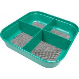 Pudełko kwadrat z 4 przegródkami z siatką STONFO